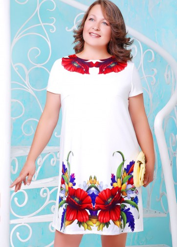 """Белое платье-трапеция с принтом """"Маки"""""""