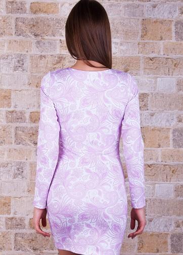 Облегающее платье с узорным принтом и длинным рукавом