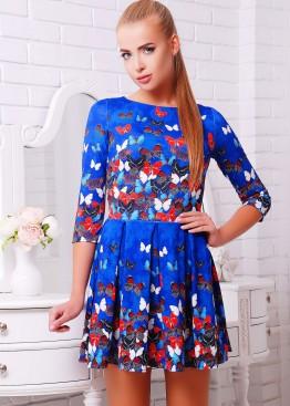 """Приталенное платье со складками и принтом """"Бабочки"""""""