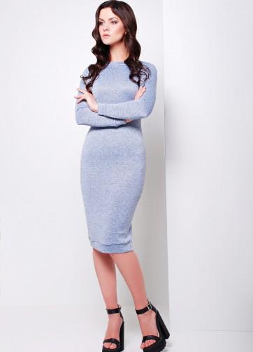 Трикотажное акриловое облегающее платье-миди с длинным рукавом