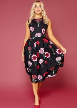 """Приталенное платье без рукавов с цветочным принтом """"Гвоздики"""""""