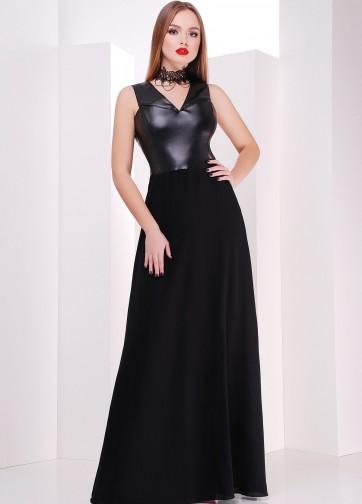 Вечернее платье в пол без рукава с кожаным лифом