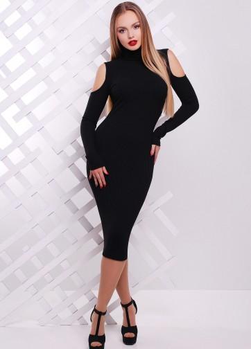 Облегающее платье-миди с вырезами на плечах