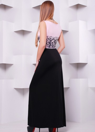 Вечернее платье в пол без рукава и кружевным принтом