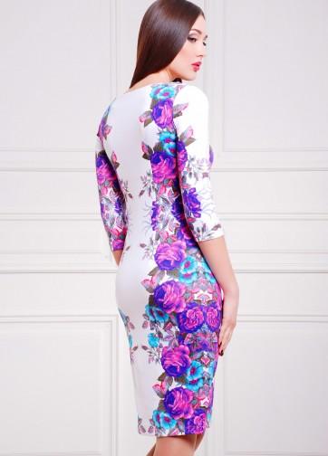 """Белое облегающее платье-миди с принтом """"Фиолетовые розы"""""""