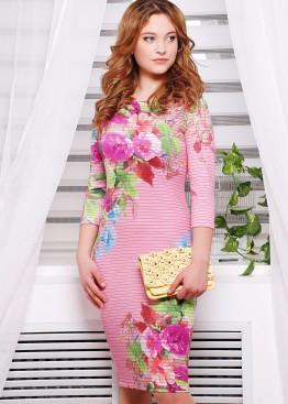 """Облегающее платье в полоску с рукавом три четверти и принтом """"Весенний букет"""""""
