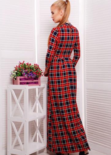 Платье-макси в клетку с воротником-стойкой и юбкой в складку