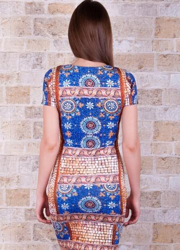 """Полуприлегающее платье с коротким рукавом и принтои """"Византия"""""""