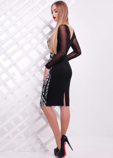 Вечернее облегающее платье-миди с кружевным принтом