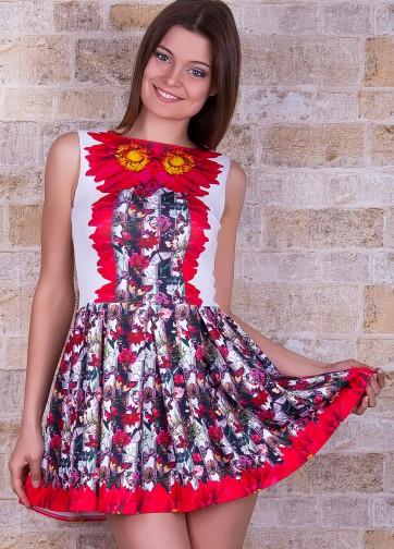 """Цветочное приталенное платье без рукава со складками и принтом """"Бабочки"""""""