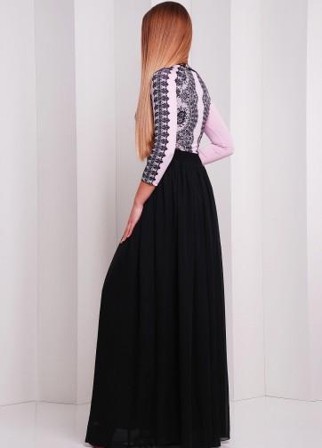 Вечернее платье в пол с пышной юбкой и кружевным принтом