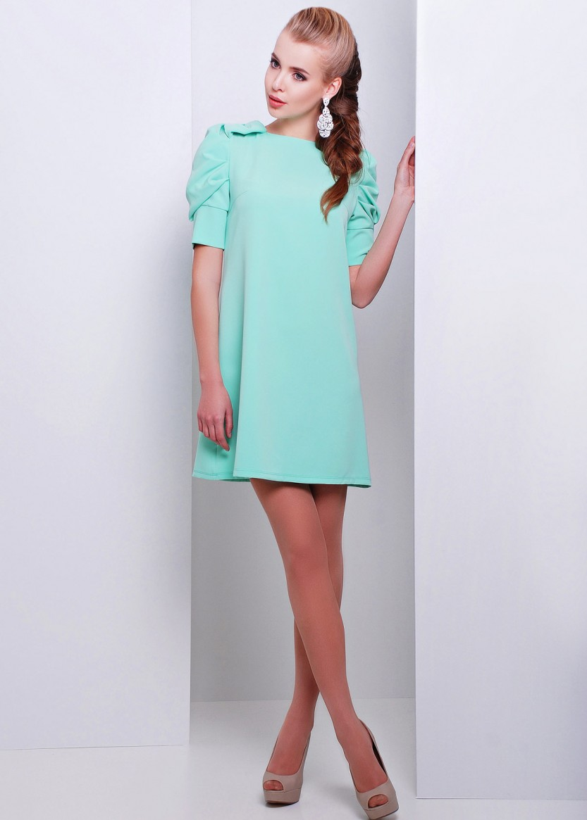 11f1046815bf2da Купить Стильное женское платье-трапеция с рукавом