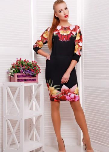 """Облегающее платье с рукавом """"летучая мышь"""" и принтом """"Лотос"""""""
