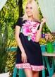 Короткое черно-синее платье свободного кроя с розовыми пионами
