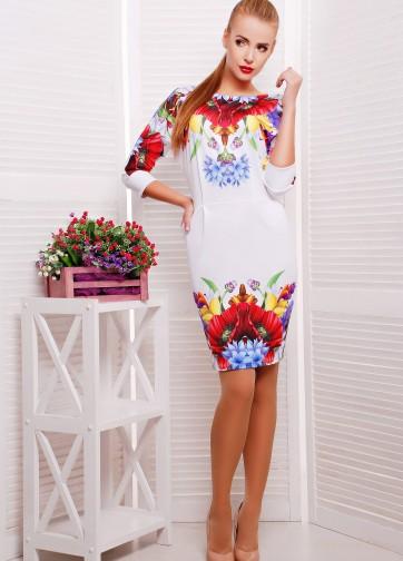 """Платье облегающего силуэта с рукавом """"Летучая мышь"""" и принтом """"Маки"""""""