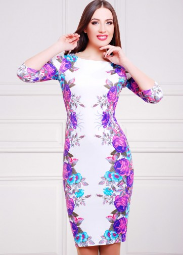 """Белое облегающее платье с рукавом три четверти и принтом """"Фиолетовые розы"""""""