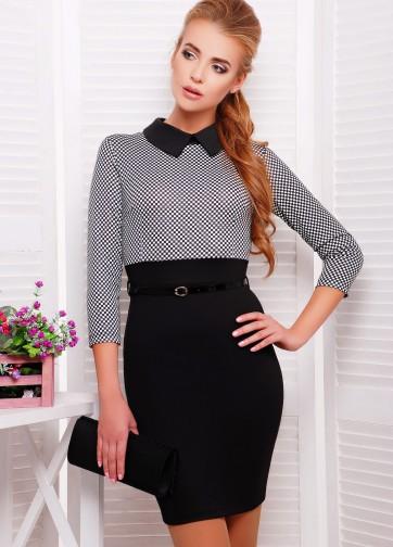 Платье-карандаш с черным низом и отложным воротником