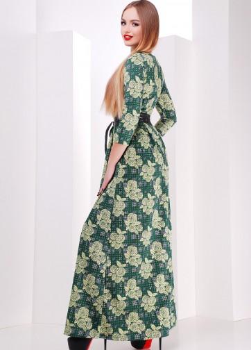 Платье-макси с юбкой в складку и кожаным поясом