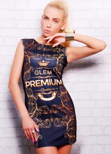Черное короткое платье-футляр без рукава с золотым принтом