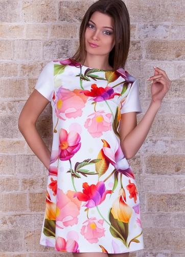 """Платье-трапеция с коротким рукавом и принтом """"Белые лилии"""""""