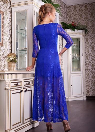 Вечернее длинное гипюровое платье с цветочным узором