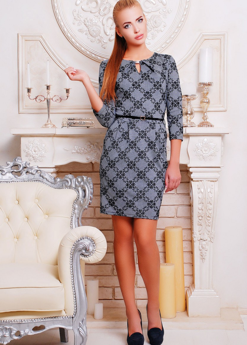 6da2032611a Купить Трикотажное платье с юбкой-тюльпан и рукавом три четверти ...