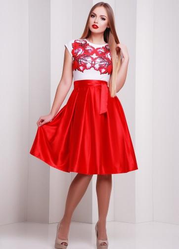 Коктейльное приталенное платье без рукава с пышной красной юбкой