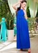 Длинное платье без рукава с поясом из креп-шифона