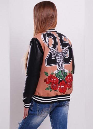 """Стильная короткая куртка бомбер с принтом """"Олень-роза"""""""