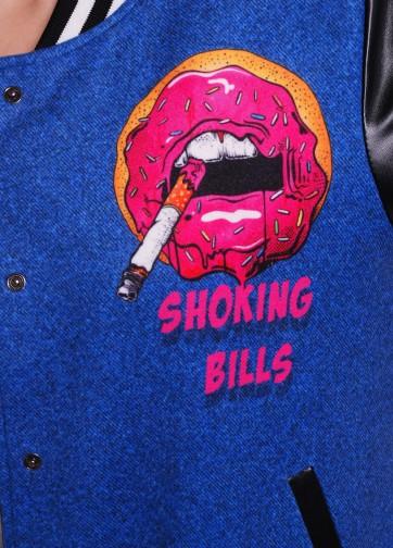 """Короткая куртка бомбер с принтом """"Джинсы-губы"""""""