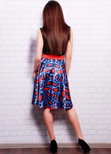 """Атласная юбка расклешенного кроя с принтом """"Синий леопард"""""""