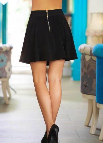 Черная юбка-клеш с золотистой вставкой-пряжкой