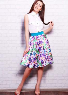"""Атласная юбка расклешенного кроя с принтом """"Яркие цветы"""""""