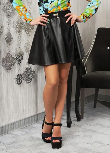 Черная юбка-солнце-мини из искусственной кожи