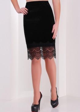 Велюровая юбка прямого кроя  с кружевом по низу