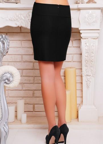 Деловая короткая юбка-карандаш с волнообразной передней отделкой