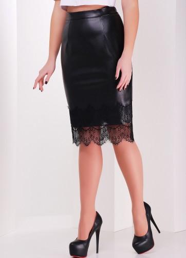 Кожаная юбка-карандаш с кружевом