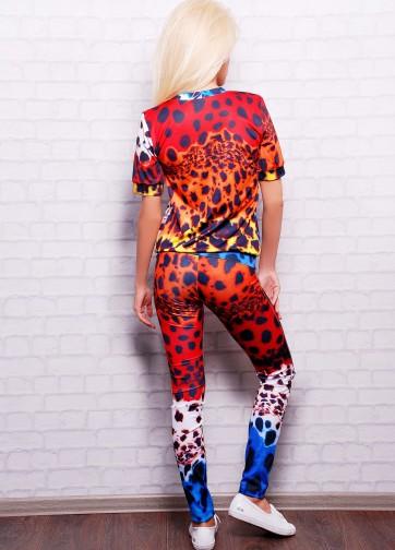 """Брючный костюм с коротким рукавом и принтом """"Разноцветный леопард"""""""