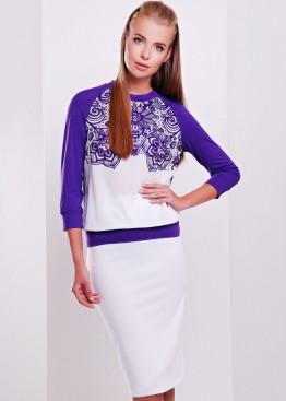 Фиолетовая женская кофта с ажурным цветочным принтом и рукавом три четверти