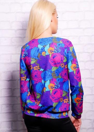 Кофта с длинным рукавом и цветочным фиолетовым принтом