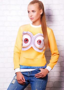 """Желтый женский свитшот с принтом """"Big Minion"""""""