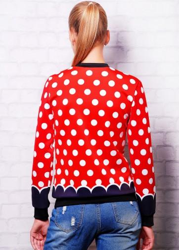 """Женский стильный красный свитшот в белый горошек с принтом """"Minnie Love"""""""