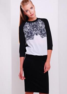 Черно-белая женская кофта с узорным принтом и рукавом три четверти