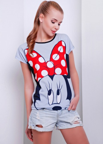 """Серая футболка прямого кроя с принтом """"Big Minnie"""""""