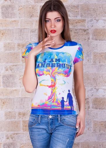 """Белая футболка с ярким принтом """"Ядерный взрыв"""""""