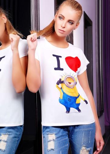 """Белая футболка с коротким рукавом и принтом """"Я люблю миньона"""""""