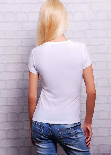 """Белая облегающая футболка с коротким рукавом и принтом """"Трезубец"""""""