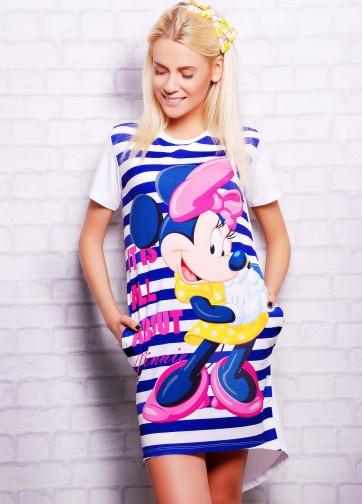"""Удлиненная футболка-фрак в полоску с принтом """"Minnie"""""""