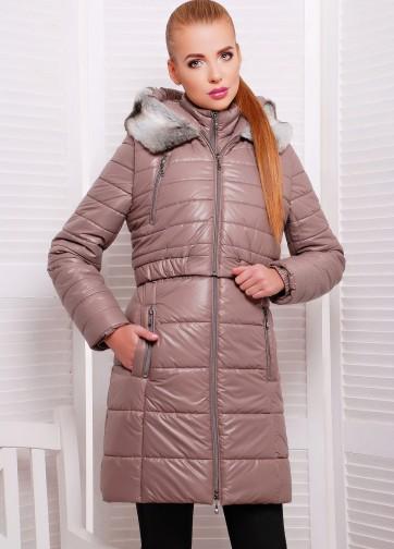 Зимняя женская куртка на синтепоне с искусственным мехом на капюшоне съемного жилета