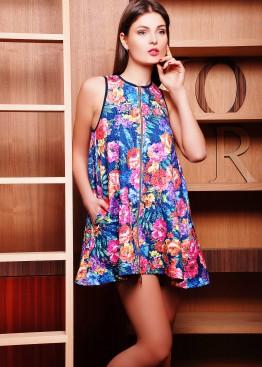 Платье-туника расширенная к низу без рукава с цветами